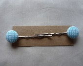 Turquoise printed lines geometric hair slides kirby grips bobby pins with covered buttons - a pair