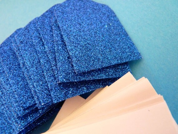 Set of 10 mini blue glitter envelopes and cards