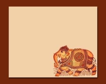 Set of 8 Decorative Elephant Flat Note Cards