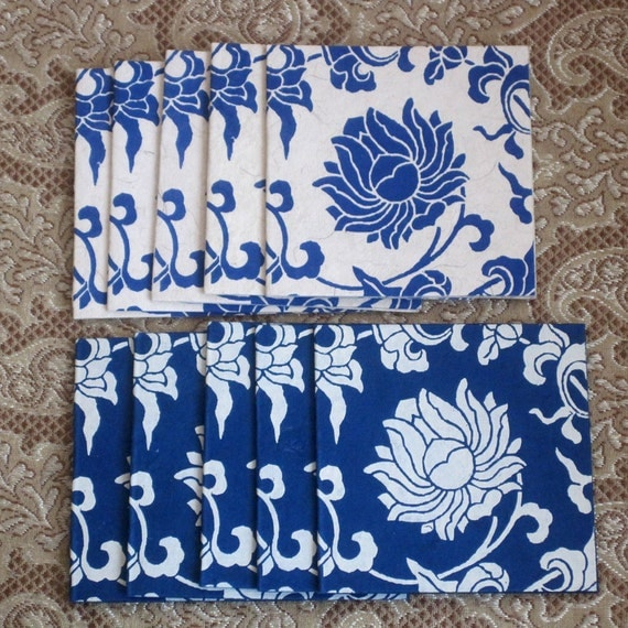Set of 10 Gift Tags in Indigo and White
