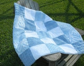 Vintage Chenille Baby Quilt  Blue and White