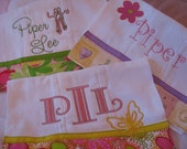 Custom Monogrammed and Personalized Boutique Style Burp Cloths Set of 3