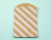 CLEARANCE - Bitty Bags Kraft with White Diagonal Stripes TINY Paper Treat Bags - Qty 10