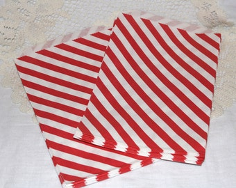 CLEARANCE - Bitty Bags, Larger Size, Red Striped Paper Treat Bags - Qty 10
