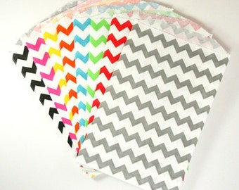 CLEARANCE - You Choose Colors Middy Bitty, Medium Size, Chevron Striped Paper Treat Bags - Qty 10