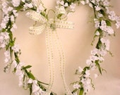 Spring Lilly of Valley Heart Wreath Weddings Shabby Home Decor silk flower front door decoration Send flowers Valentines day gift