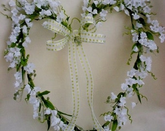 spring lilly of valley heart wreath weddings shabby home decor silk flower front door easter decoration - Silk Arrangements For Home Decor 2