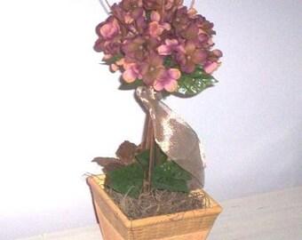 Home decor centerpiece floral arrangement Shabby Chic Hydrangea Topiary silk flowers mauve hold pinks