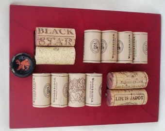 unique decor wine lover gifts Red Cork Board Wine Art Upcycled Cork trivet Bar kitchen wall hanging under 20