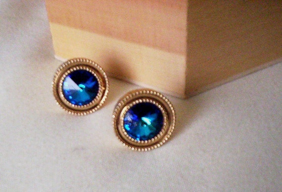Mens Gifts Vintage Cuff Links Blue Gold Retro 1960s