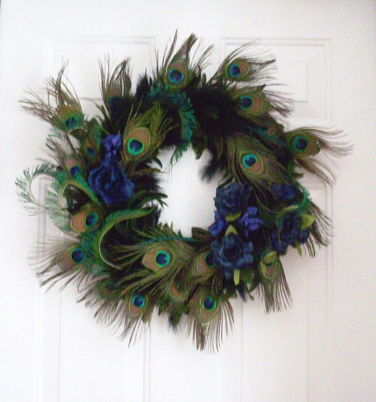 Peacock Feather Wreath Home Decor Blue Turquoise By Amorevivo