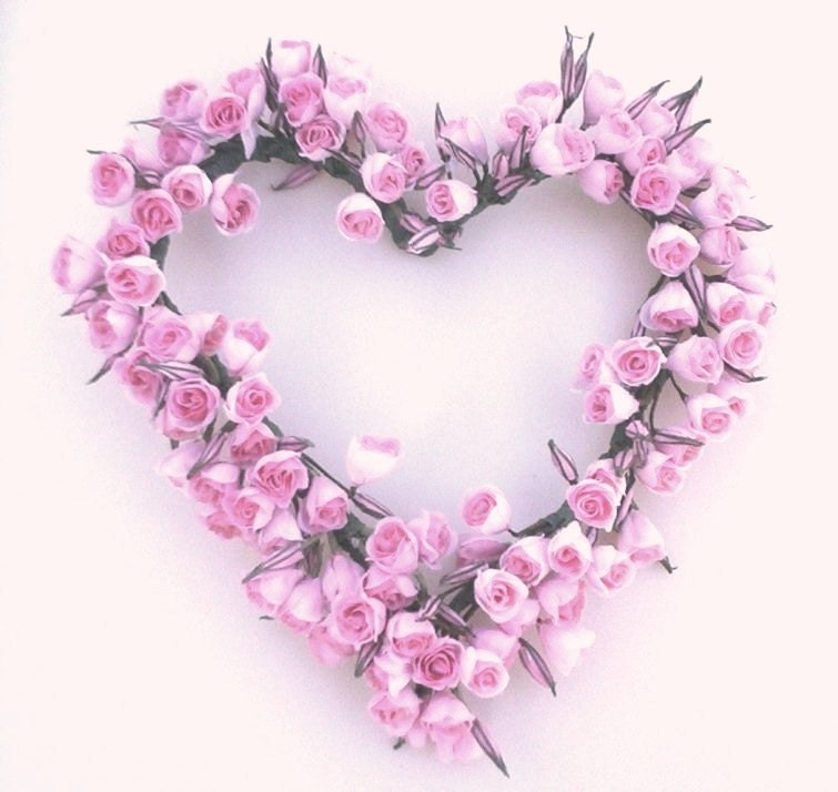 PINK Rose wreath Shabby Chic Dozens of Roses Heart Pink Pink Roses And Hearts