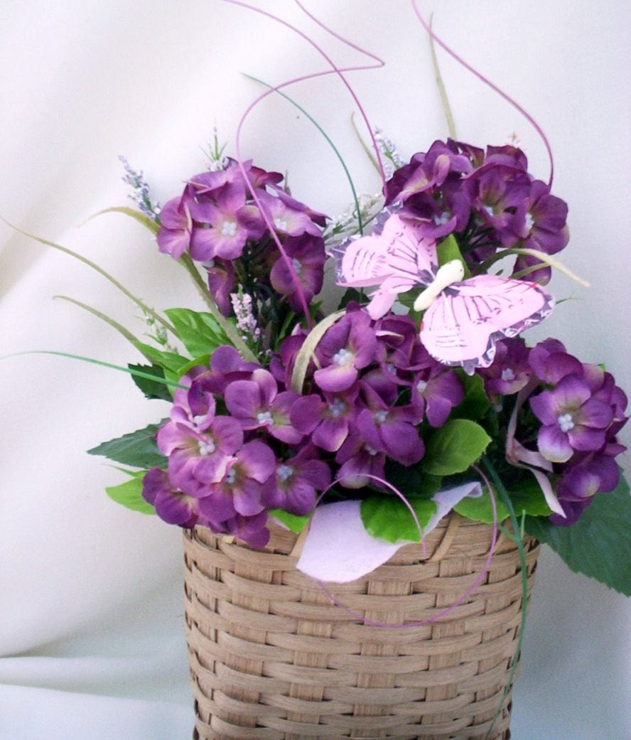 Floral Arrangement Purple Silk Hydrangea Wall Basket Silk