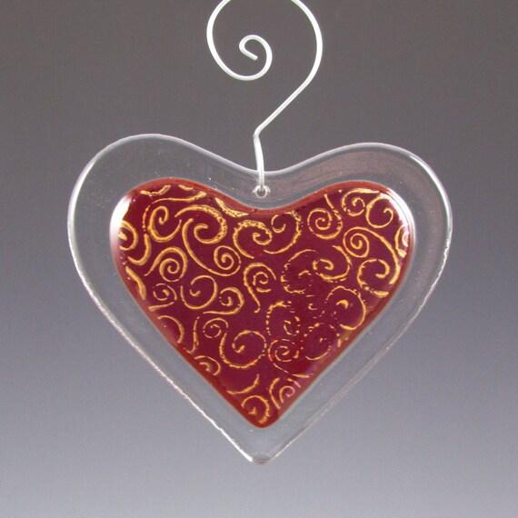 Red Heart Suncatcher Fused Glass Swirl