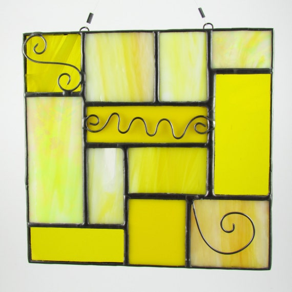 Stained Glass Suncatcher Quilt Inspired - Yellow with wire swirls (125)