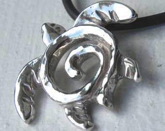 Sea Turtle Necklace - Silver Turtle Totem Pendant - Unique Sterling Silver Swirl Turtle Jewelry - Handcrafted Ocean Sea Life