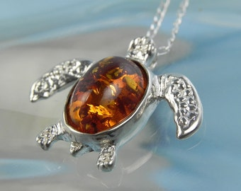 Sea Turtle Amber Necklace - Sterling Silver Baltic Amber Necklace - Sea Turtle Jewelry - Ocean Inspired Amber Turtle Shell Pendant