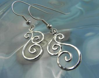 Swirl Dangle Earrings - Silver Spiral Earrings - Silver Waves Jewelry - Artisan Silver Swirl Earrings - Unique Spiral Jewelry Swirl