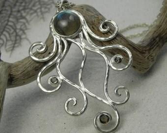 Octopus Necklace - Labradorite Octopus Pendant - Statement Necklace - Unique Silver Labradorite Jewelry - Blue Flash Labradorite