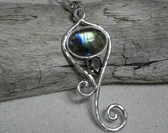 Labradorite Sterling Silver Swirl Necklace - Smokey Quartz Labradorite Necklace - Unique Labradorite Jewelry