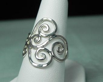 Wave Ring Sterling Silver - Swirl Ring - Spiral Ring - Sterling Silver Spiral Swirl Ring - Unique Handcrafted Silver Artisan Swirls Ring