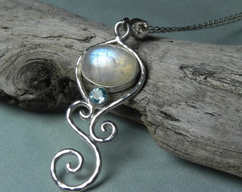 Blue Moonstone Pendant - Rainbow Moonstone Blue Topaz Necklace -  Sterling Silver Swirl Gemstone - Moonstone Topaz Jewelry - Winter Blue Ice
