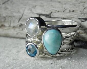 Larimar Ring Silver Stack - Silver Stackable Ring Set Blue Topaz, Larimar, Moonstone - Moonstone Silver Ring - Silver Moonstone Ring