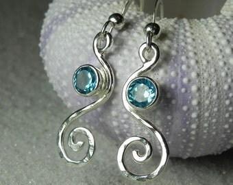 Blue Topaz Earrings - Blue Topaz Jewelry - Gemstone Swirl Spiral Earrings - Aqua Blue Silver Jewelry - Something Blue Beach Bride