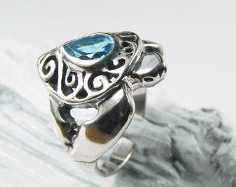 Turtle Ring Blue Topaz - Swirl Shell Sea Turtle Ring -  Blue Topaz Ring - December Birthstone - Honu Jewelry - Honu Petroglyph -