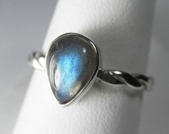 Labradorite Ring - Teardrop Labradorite Stackable Ring - Stacking Ring - Unique Labradorite Jewelry - Green Blue Gold Flash Labradorite