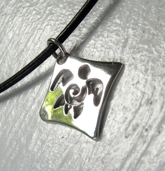 NECKLACE - Sea Turtle Sterling Silver Necklace - Diamond Pierced Silver Turtle Necklace - Unique Sea Turtle Jewelry