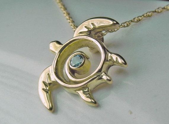 Blue Diamond Sea Turtle Necklace - 14kt Gold Turtle Pendant - Diamond Sea Turtle - Ocean Blue Diamond Nautical Sea Life
