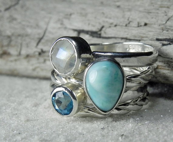 Sterling Silver Stacking Rings - Larimar, Topaz, Moonstone Stack Ring Set - Gemstone Stack Rings - Turquiose Ocean Blue Aqua Gem Jewelry