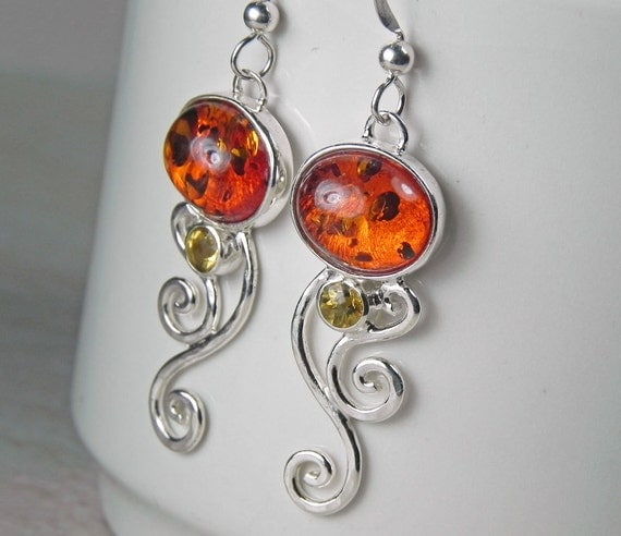Amber Earrings - Spiral Swirl Earrings - Baltic Amber Citrine Earrings - Unique Amber Jewelry