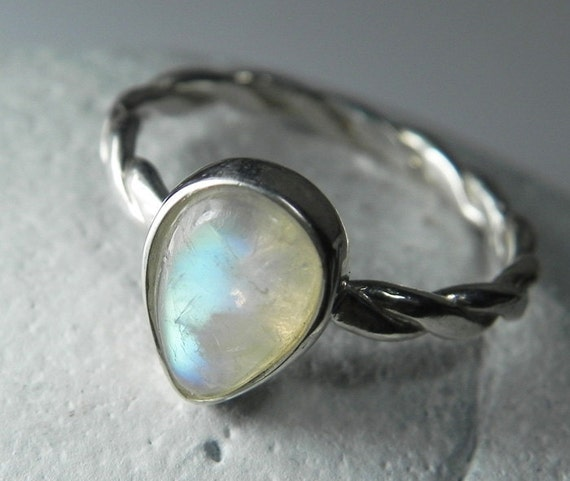 moonstone ring rainbow moonstone stackable ring