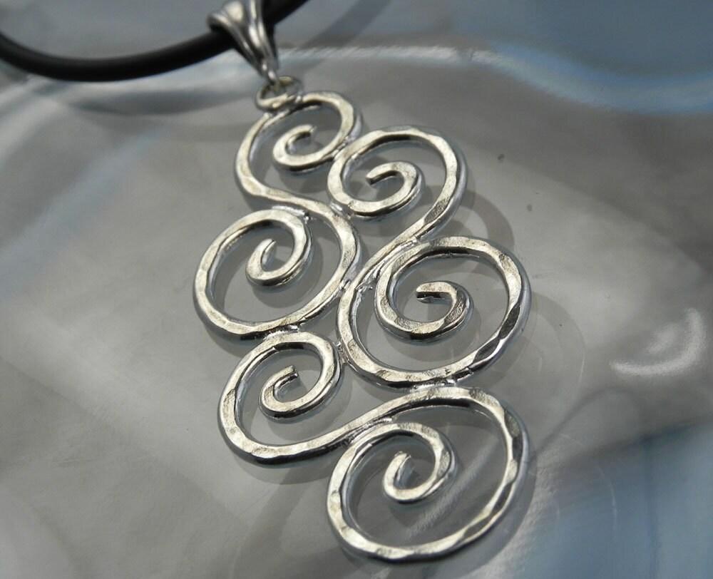 Silver Swirl Necklace Spiral Pendant Unique Swirl Jewelry