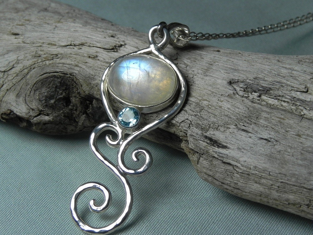 Blue Moonstone Pendant Rainbow Moonstone Blue Topaz Necklace