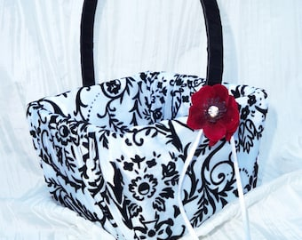 Damask Flower Girl Basket- Deep Red Cherry Blossoms by Creations of Love 4 Brides