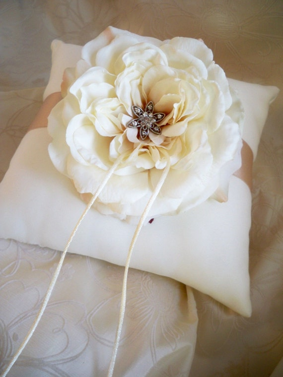 Vintage Shabby Chic Ivory Champagne Taupe Wedding Ring Pillow- Garden Rose Crystal Charm