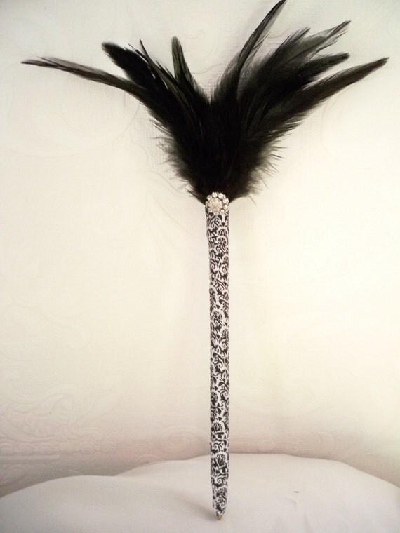 Damask Black White Feathered Pen With Crystal Rhinestone