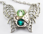 Steampunk  Jewelry Necklace - GORGEOUS Green Crystal Butterfly - A Vintage Ruby Jeweled Watch Movement Treasure Accented with Emerald Green Yellow Topaz and Peridot Swarovski Crystals -- Artfully presented in a Drawstring Pouch and Promptly Shipped