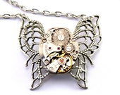 Steampunk Necklace - Gorgeous MONARCH Vintage Clockwork Butterfly - PROMPTLY SHIPPED Steampunk Jewelry