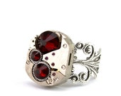 Steampunk Ring - GORGEOUS Vintage Clockwork Design & Red Swarovski Crystals - PROMPTLY SHIPPED - Steampunk Jewelry By London Particulars