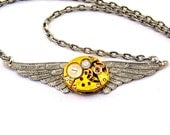 Steampunk Necklace - Golden & silver toned Winged Clockwork Steam punk pendant - PROMPTLY SHIPPED - Steampunk Jewellery  London Particulars