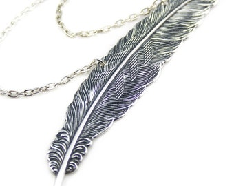 Feather Quill Necklace Steam Punk Necklace Writer's Quill Writing Symbol Feather Pendant Silver Plated London Particulars