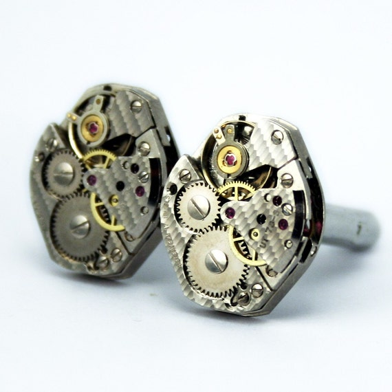 The Quintessential Steampunk Watch Movement Cufflinks - Artfully packaged and promptly shipped