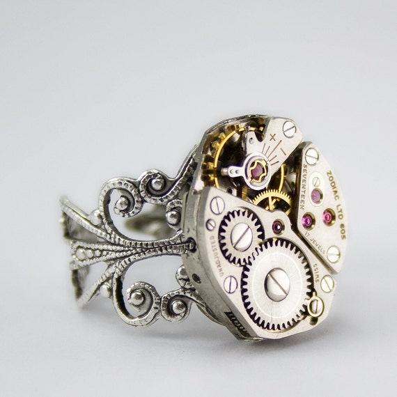 The Quintessential Steampunk Ring - Artfully presented in a Drawstring Pouch - Securely Packaged and Promptly Shipped