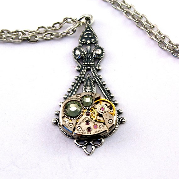 Steampunk Necklace - Vintage Clockwork Design - Black Diamond Swarovski Crystals - PROMPTLY SHIPPED - SteampunkJewelry London Particulars