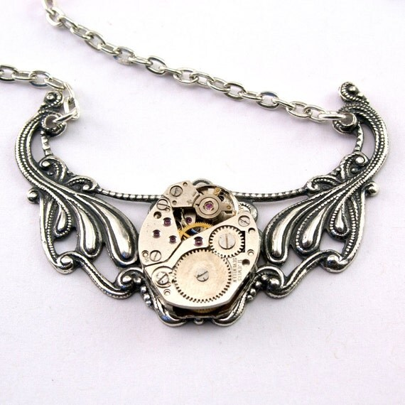 Steampunk Necklace - Gorgeous Vintage Watch Movement Pendant Design - PROMPTLY SHIPPED Steampunk Jewelry