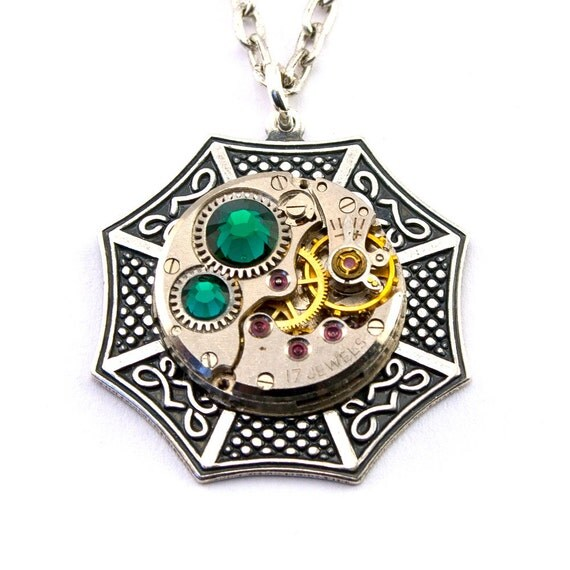 Steampunk Necklace - Beautiful Celtic Clockwork Design Boldly Bejewelled with Emerald Green Swarovski Crystals - PROMPTLY SHIPPED